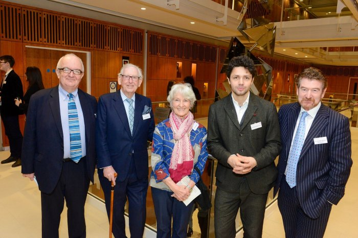 The Rt. Hon. Peter Riddell CBE, Lord Sainsbury KG, Lady Sainsbury, Conrad Shawcross RA and Dr Joseph Spence, Master of Dulwich College