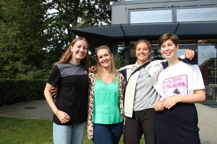 Dramatic results: Mary, Emily and Liberty celebrate their drama results with Head of Drama Miss Yandell (second from left)