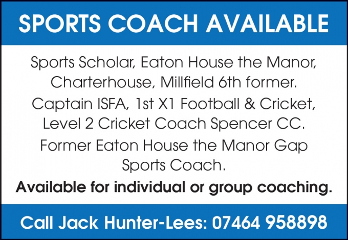 SPORTS COACH AVAILABLE