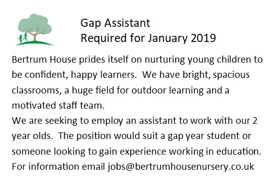 Gap Assistant Required - January 2019